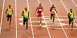 Engeland, London, 9 augustus 2012.Olympische Spelen London.Usain Bolt wint de gouden medaille. Churandy Martina wordt vijfde in de finale van de 200m voor mannen op de Olympische spelen van London