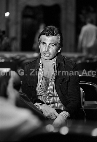"Actor George Hamilton backstage at ""Circus of the Stars,"" (CBS Special), Santa Monica Civic Auditorium, November, 1976. Photo by John G. Zimmerman"