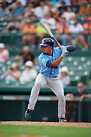Tampa Bay Rays left fielder Kean Wong (80) at bat during a Grapefruit League Spring Training game against the Baltimore Orioles on March 1, 2019 at Ed Smith Stadium in Sarasota, Florida.  Rays defeated the Orioles 10-5.  (Mike Janes/Four Seam Images)