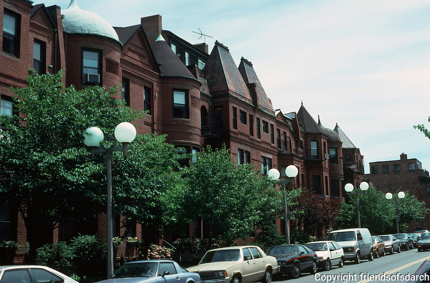 "Boston:  Back Bay--19th Century Row Houses, West Newton St. from St. Botolph St. (""South End"") near Southwest Corridor Park.  Photo '91."