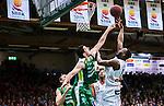 S&ouml;dert&auml;lje 2014-04-22 Basket SM-Semifinal 7 S&ouml;dert&auml;lje Kings - Uppsala Basket :  <br /> S&ouml;dert&auml;lje Kings Toni Bizaca och Uppsalas Oladapo Dee Ayuba i en duell under korgen<br /> (Foto: Kenta J&ouml;nsson) Nyckelord:  S&ouml;dert&auml;lje Kings SBBK Uppsala Basket SM Semifinal Semi T&auml;ljehallen