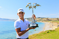 Joakim Lagergren (SWE) poses with the trophy after the final round of the Rocco Forte Sicilian Open played at Verdura Resort, Agrigento, Sicily, Italy 13/05/2018.<br /> Picture: Golffile | Phil Inglis<br /> <br /> <br /> All photo usage must carry mandatory copyright credit (&copy; Golffile | Phil Inglis)