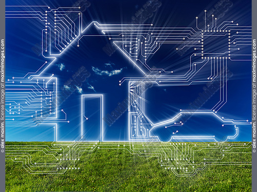 Connected home and electric car future home automation household technology conceptual illustration on nature landscape background