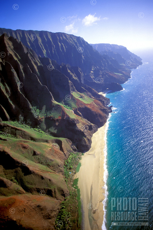 Na Pali coast, aerial, Kalalau beach, Kauai