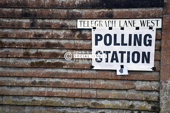 Polling station sign, local elections, Norwich UK May 2018