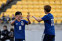Japan&rsquo;s Mana Iwabuchi and Japan&rsquo;s Mina Tanaka in action during the  International Football - Football Ferns v Japan  at Westpac Stadium, Wellington, New Zealand on Sunday 10 June 2018.<br /> Photo by Masanori Udagawa. <br /> www.photowellington.photoshelter.com