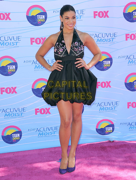 Jordin Sparks.FOX's 2012 Teen Choice Awards held at The Gibson Ampitheatre in Universal City, California, USA..July 22nd, 2012          .full length black halterneck pink floral print dress hands on hips.CAP/RKE/DVS.©DVS/RockinExposures/Capital Pictures.