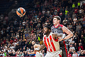 9th February 2018, Aleksandar Nikolic Hall, Belgrade, Serbia; Euroleague Basketball, Crvenz Zvezda mts Belgrade versus AX Armani Exchange Olimpia Milan; Center Arturas Gudaitis of AX Armani Exchange Olimpia Milan and Guard Taylor Rochestie of Crvena Zvezda mts Belgrade fight for the ball