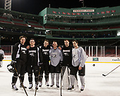 Conor MacPhee (PC - 29), Anthony Florentino (PC - 16), Niko Rufo (PC - 11), Josh Monk (PC - 27), Brendan Leahy (PC - 1), Kyle McKenzie (PC - 5) - The Providence College Friars practiced at Fenway on Friday, January 6, 2017, in Boston, Massachusetts.