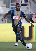 CHESTER, PA - AUGUST 12, 2012:  Freddy Adu (11) of the Philadelphia Union playing against the Chicago Fire during an MLS match at PPL Park, in Chester, PA on August 12. Fire won 3-1.