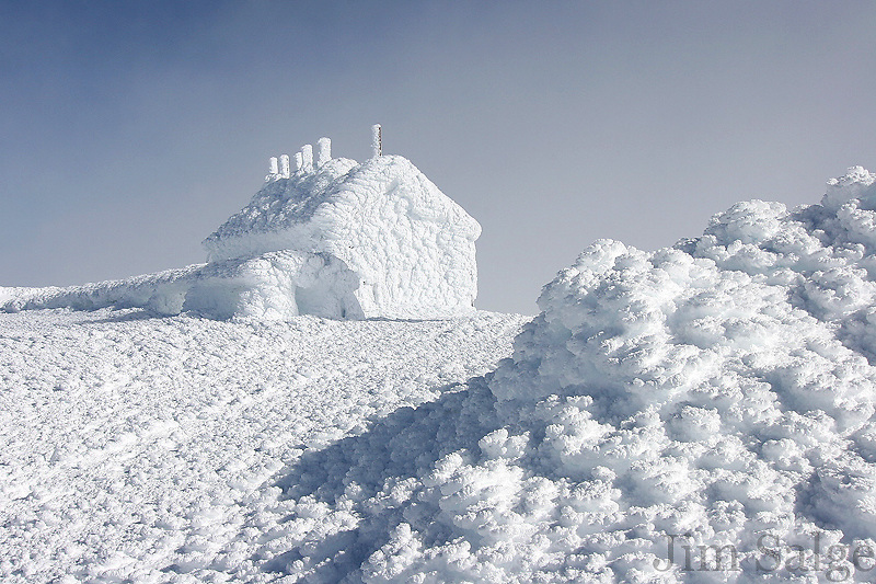 Rime ice covers the Historic Stage Office at the summit of Mount Washington in New Hampshire
