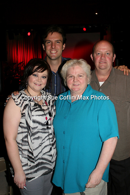 OLTL's Kathy Brier and her mom Terri, dad Ed and boyfriend Jason Munt at The Premiere of the Divas of Daytime TV Tour at New York City's Canal Room, New York on August 16, 2008. Performing are OLTL's Kathy Brier, Kassie DePaiva and AMC's Bobbie Eakes with AMC's Ricky Paull Goldin as MC. (Photo by Sue Coflin/Max Photos)