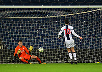 West Bromwich Albion U18's Fin Azaz scores his side's fourth goal from the penalty spot, sending Lincoln City U18's Matty White the wrong way<br /> <br /> Photographer Andrew Vaughan/CameraSport<br /> <br /> FA Youth Cup Round Three - West Bromwich Albion U18 v Lincoln City U18 - Tuesday 11th December 2018 - The Hawthorns - West Bromwich<br />  <br /> World Copyright &copy; 2018 CameraSport. All rights reserved. 43 Linden Ave. Countesthorpe. Leicester. England. LE8 5PG - Tel: +44 (0) 116 277 4147 - admin@camerasport.com - www.camerasport.com