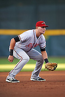 Richmond Flying Squirrels third baseman Ryder Jones (8) during a game against the Erie SeaWolves on August 22, 2016 at Jerry Uht Park in Erie, Pennsylvania.  Erie defeated Richmond 4-2.  (Mike Janes/Four Seam Images)