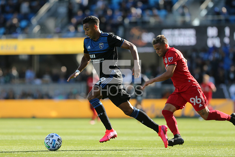 SAN JOSE, CA - FEBRUARY 29: Danny Hoesen #9 of the San Jose Earthquakes is chased by Auro Jr. #96 of Toronto FC during a game between Toronto FC and San Jose Earthquakes at Earthquakes Stadium on February 29, 2020 in San Jose, California.