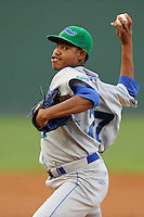 Pitcher Miguel Almonte (27) of the Lexington Legends in a game against the Greenville Drive on Monday, August 19, 2013, at Fluor Field at the West End in Greenville, South Carolina. Lexington won, 5-1. (Tom Priddy/Four Seam Images)