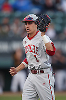 Nick Ramos #1 of the Indiana Hoosiers during a game against the Long Beach State Dirtbags at Blair Field on March 14, 2014 in Long Beach, California. Long Beach State defeated Indiana 4-3. (Larry Goren/Four Seam Images)