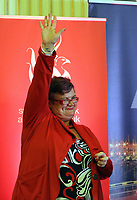 Pictured: Labour candidate for Swansea East constituency Carolyn Harris celebrates her win as the results are announced.  Friday 09 June 2017<br />Re: Counting of ballots at Brangwyn Hall for the general election in Swansea, Wales, UK