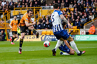 7th March 2020; Molineux Stadium, Wolverhampton, West Midlands, England; English Premier League, Wolverhampton Wanderers versus Brighton and Hove Albion; Diogo Jota of Wolverhampton Wanderers takes a shot at goal
