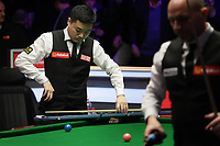 12th January 2020, Alexandra palace, London, United Kingdom; Ding Junhui of China packs his cue away after losing the round 1 match between Ding Junhui of China and Joe Perry of England at Snooker Masters 2020 at the Alexandra Palace . Perry won 6 frames to 3.
