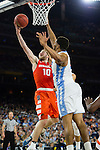 02 APR 2016: Guard Trevor Cooney (10) of Syracuse University drives to the basket against Forward Kennedy Meeks (3) of the University of North Carolina during the 2016 NCAA Men's Division I Basketball Final Four Semifinal game held at NRG Stadium in Houston, TX. North Carolina defeated Syracuse 83-66 to advance to the championship game.  Brett Wilhelm/NCAA Photos