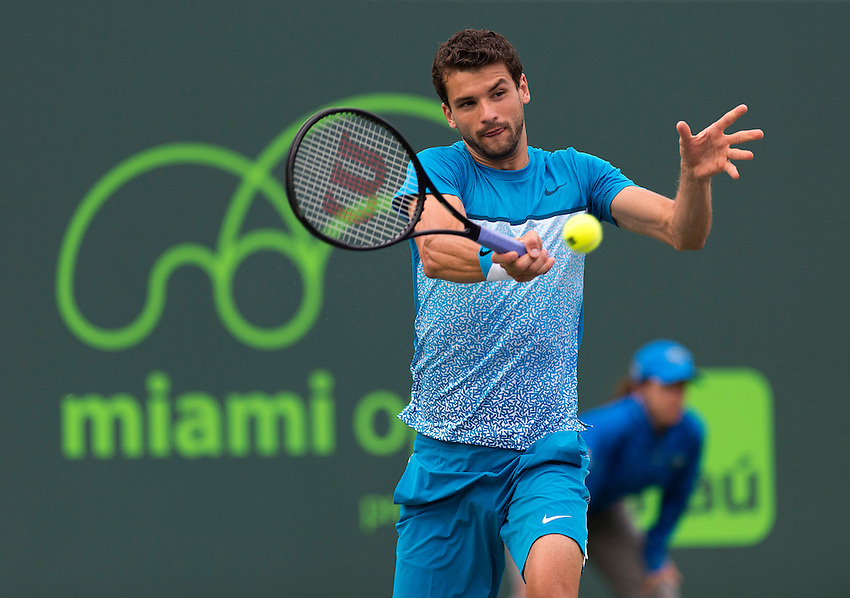 KEY BISCAYNE, FL - March 28: Grigor Dimitrov (BUL) in action here defeats Vasek Pospisil (CAN) 62 62 at the 2015 Miami Open in Key Biscayne Florida.  Photographer Andrew Patron - CameraSport/BigShots<br /> <br /> Tennis - 2015 Miami Open presented by Itau - Crandon Park Tennis Center - Key Biscayne, Florida - USA - Day 6, Saturday 28th March 2015<br /> <br /> &copy; CameraSport - 43 Linden Ave. Countesthorpe. Leicester. England. LE8 5PG - Tel: +44 (0) 116 277 4147 - admin@camerasport.com - www.camerasport.com