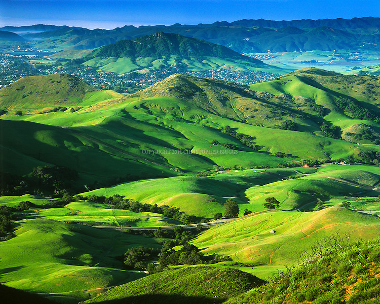 """Santa Lucia Range foothills covered in spring green, with Bishop Peak, 1,546 ft (471m) a volcanic plug in background. It is tallest of the Morros or """"Nine Sisters"""", a chain of similar peaks stretching to Morro Bay. Name from its resemblance to a bishop's miter. San Luis Obispo County, CA."""
