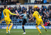 Paul Hayes of Wycombe Wanderers flicks the ball forward during the Sky Bet League 2 match between Wycombe Wanderers and Bristol Rovers at Adams Park, High Wycombe, England on 27 February 2016. Photo by Andy Rowland.