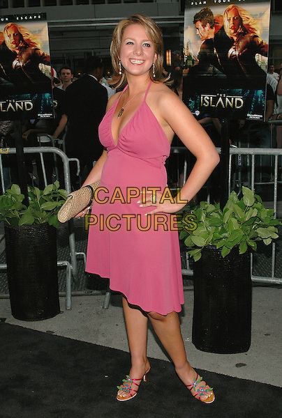 """SARAH HUGHES.Premiere of the new film """"The Island"""", at the Ziegfeld Theater in Manhattan, New York, New York..July 11th, 2005.Photo Credit: Patti Ouderkirk/AdMedia.Olympic Champion figure skater full length pink halterneck dress.www.capitalpictures.com.sales@capitalpictures.com.© Capital Pictures."""