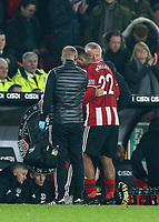 24th November 2019; Bramall Lane, Sheffield, Yorkshire, England; English Premier League Football, Sheffield United versus Manchester United; Lys Mousset of Sheffield United gets a hug from Chris Wilder Manager of Sheffield United as he is substituted due to injury - Strictly Editorial Use Only. No use with unauthorized audio, video, data, fixture lists, club/league logos or 'live' services. Online in-match use limited to 120 images, no video emulation. No use in betting, games or single club/league/player publications