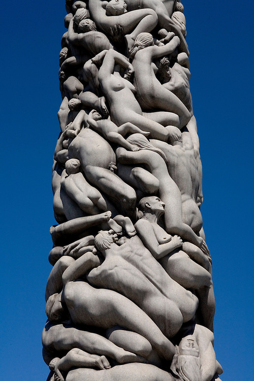 20 meter high obelisk in Vigeland, Frognerparken, Oslo, Norway