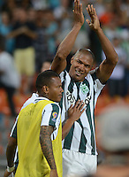MEDELLIN - COLOMBIA - 15-08-2015: Alexis Henriquez jugador del Atletico Nacional celebra su gol contra la Equidad   durante partido  por la fecha 9 de la Liga Aguila II 2015 jugado en el estadio Atanasio Girardot. / Alexis Henriquez player of Atleico Nacional celebrates his goal against  of  La Equidad   during a match for the Ninth date of the Liga Aguila II 2015 played at Atanasio Girardot stadium in Medellin city. Photo: VizzorImage / Leon Mosalve  / Str.