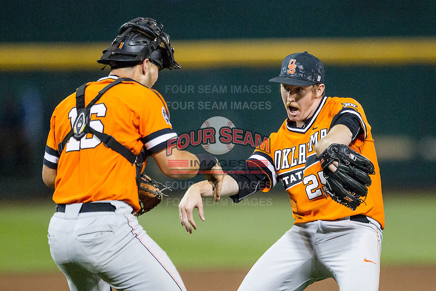Oklahoma State Cowboys pitcher Trey Cobb (25) celebrates saving the game against the Arizona Wildcats with catcher Collin Theroux (16) following Game 6 of the NCAA College World Series on June 20, 2016 at TD Ameritrade Park in Omaha, Nebraska. Oklahoma State defeated Arizona 1-0. (Andrew Woolley/Four Seam Images)
