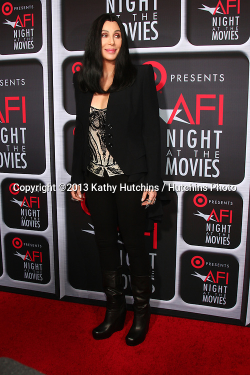 LOS ANGELES - APR 24:  Cher arrives at the AFI Night at the Movies 2013 at the ArcLight Hollywood Theaters on April 24, 2013 in Los Angeles, CA