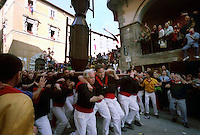 Gubbio 15 MAY 2004..Festival of the Ceri..The run of the Ceri of the afternoon.The Cero St Anthony ....http://www.ceri.it/ceri_eng/index.htm..