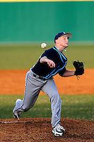 Pitcher Zach McKay (35) of the Citadel delivers in a game against the University of South Carolina Upstate Spartans on Tuesday, February, 18, 2014, at Cleveland S. Harley Park in Spartanburg, South Carolina. Upstate won, 6-2. (Tom Priddy/Four Seam Images)
