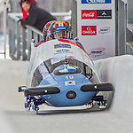 9 January 2016: South Korean pilot Yunjong Won leads his 4-man team as they cross the finish line after their second run of the day at the BMW IBSF World Cup Bobsled Championships at the Olympic Sports Track in Lake Placid, New York, USA. Won's team came in 14th for the day, with a 2-run combined time of 1:51.37. Mandatory Credit: Ed Wolfstein Photo *** RAW (NEF) Image File Available ***