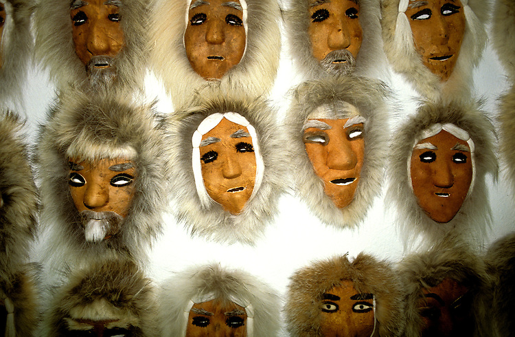 AK:  Alaska; Gates of the Arctic National Park, Anaktuvuk Pass, Eskimo village, caribou masks        .Photos by Lee Foster, lee@fostertravel.com, www.fostertravel.com, (510) 549-2202.Image: akgate405