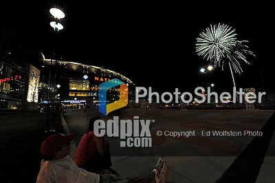 3 July 2009: Washington Nationals' fans watch fireworks outside the ballpark after a game against the Atlanta Braves at Nationals Park in Washington, DC. The Braves defeated the Nationals 9-8 to take the first game of the 3-game weekend series. Mandatory Credit: Ed Wolfstein Photo