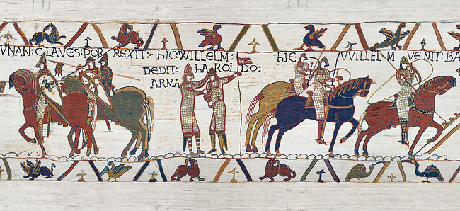 Bayeux Tapestry Scene 21 - Harold id Knighted by Duke William