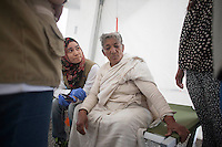 A woman receives treatment at medical camp in Shanku, near Kathmandu, Nepal A major 7.9 earthquake hit Nepal mid-day on Saturday 25th April; Many houses; buildings and temples in the capital were destroyed during the earthquake; leaving over 7000 dead and many more trapped under the debris as emergency rescue workers attempt to clear debris and find survivors. May 9, 2015