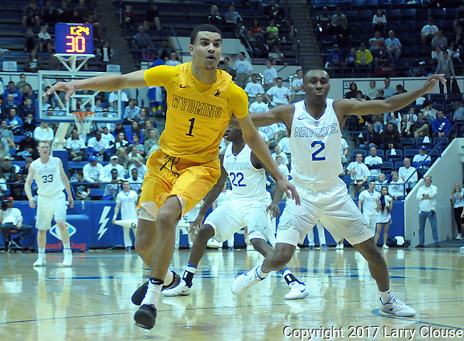 February 4, 2017:  Wyoming guard, Justin James #1, breaks for an inbound pass during the NCAA basketball game between the Wyoming Cowboys and the Air Force Academy Falcons, Clune Arena, U.S. Air Force Academy, Colorado Springs, Colorado.  Wyoming defeats Air Force 83-74.