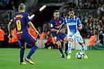 League Santander 2017/2018. Game: 03.<br /> FC Barcelona vs RCD Espanyol: 5-0.<br /> Jordi Alba vs Pablo Piatti.