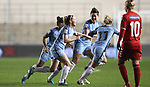 Ellie Roebuck of Manchester City Women celebrates scoring during the Women's Champions League last 16 tie, first leg between Manchester City Women and Brondby IF at the Academy Stadium. <br /> <br /> Photo credit should read: Lynne Cameron/Sportimage