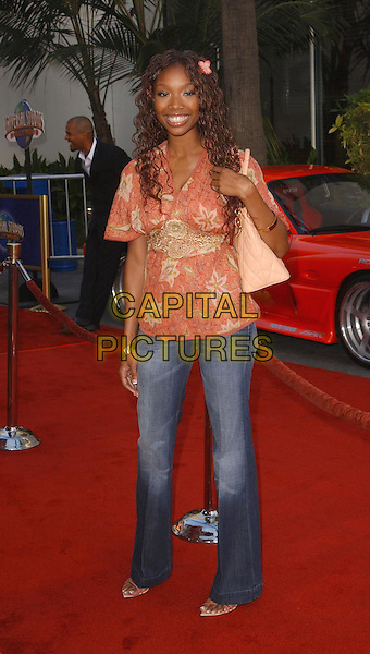 BRANDY.The '2 Fast 2 Furious' LA Premiere held at Universal City Walk. .www.capitalpictures.com.sales@capitalpictures.com.©Capital Pictures.floral print floaty top, denim jeans