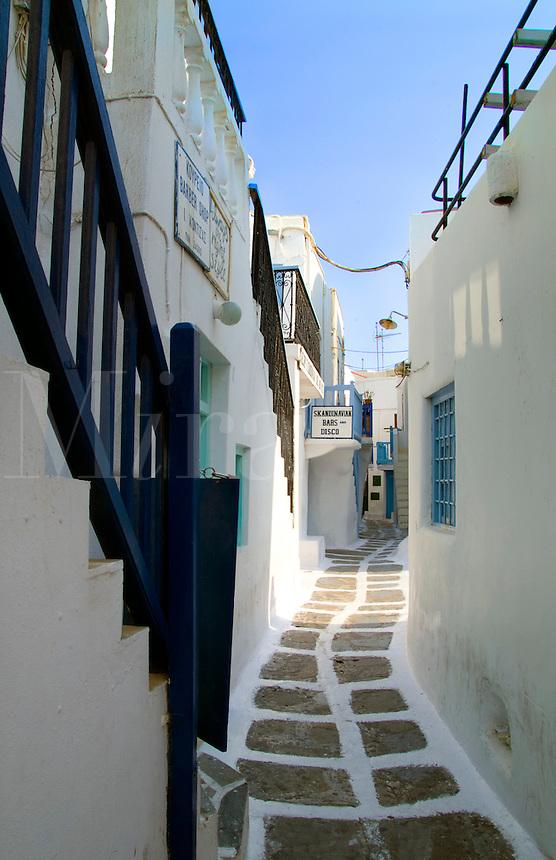 Narrow stone path,  Mykonos, Greece