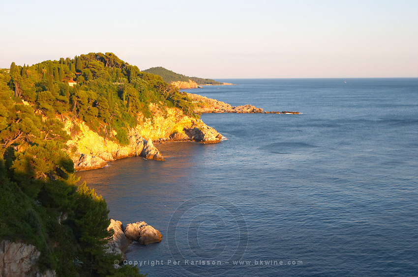 View over rock and cliff formations on the Babin Kuk peninsula. Uvala Sumartin bay between Babin Kuk and Lapad peninsulas. Dubrovnik, new city. Dalmatian Coast, Croatia, Europe.