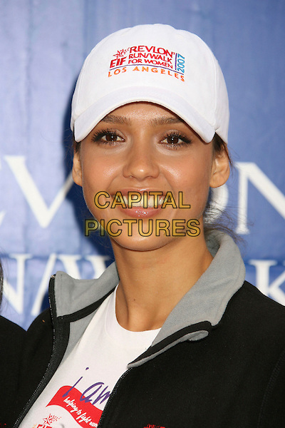 JESSICA ALBA.14th Annual Entertainment Industry Foundation Revlon Run/Walk For Women held at The Los Angeles Memorial Coliseum, Los Angeles, California, USA,.12 May 2007..portrait headshot black tracksuit top white cap hat sporty.CAP/ADM/RE.©Russ Elliot/AdMedia/Capital Pictures.