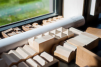 Small wooden blocks used for modeling designs.