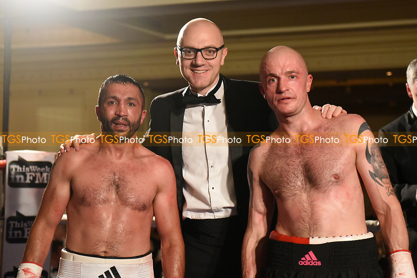 Ali Wyatt (L), Mickey Helliet and Dylan Draper during a Boxing Show at the Millenium Hotel on 11th May 2017